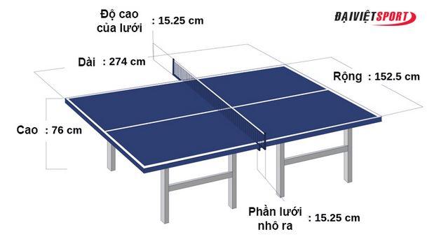 bàn bóng bàn tiêu chuẩn và lưới
